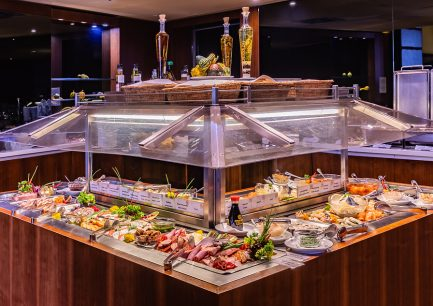 előételek, sushi, lazac, libamáj